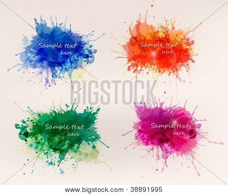 Collection of colorful abstract watercolor backgrounds. Vector