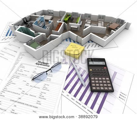Cross section of an apartment on top of a table with mortgage application form, calculator, blueprints, etc..