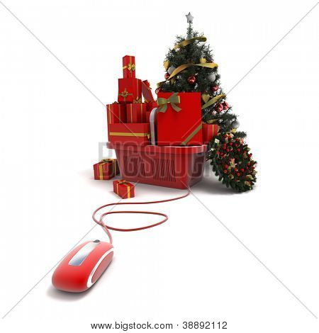 3D rendering of a shopping basket with presents and Christmas decorations connected to a computer mouse