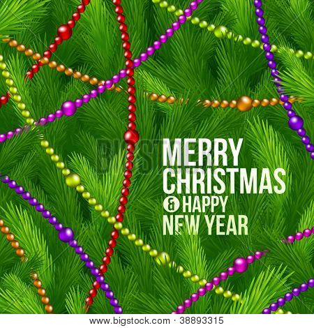 Christmas tree branches and color garlands - vector holidays background