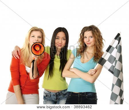 Women fans with  finish flag and loudspeaker, isolated on white