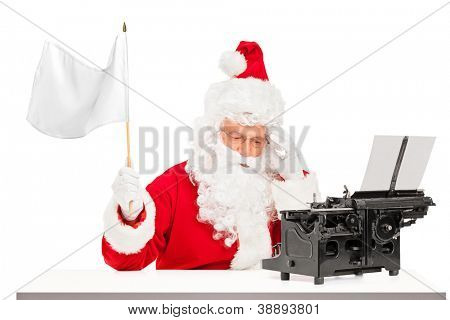 Disappointed Santa Claus with typing machine waving a white flag gesturing defeat