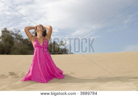 Woman In The Desert Dune