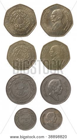 Jordanische Dinar-Münzen, isolated on white