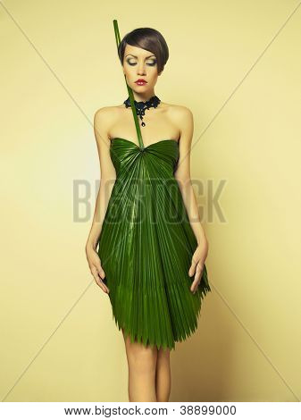 Beautiful stylish lady in an unusual dress of Palme