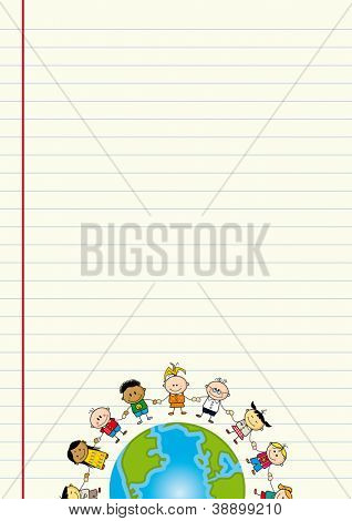 School sheet background. A sheet of paper with an illustration of children around the world