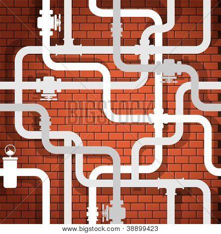 Fondo de la tubería de pared y agua de rotura