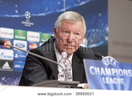 CLUJ-NAPOCA, ROMANIA - OCTOBER 1: Sir Alex Ferguson holds a press conference before champions league game between CFR Cluj and Manchester United on October 1, 2012 in Cluj-Napoca, Romania