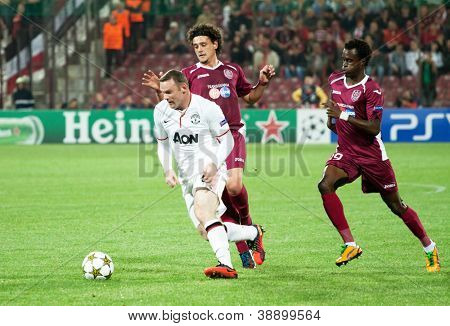 CLUJ-NAPOCA, ROMANIA - OCTOBER 2: Rooney in UEFA Champions League match between CFR 1907 Cluj and Manchester United, Dr. C. Radulescu Stadium on 2 Oct., 2012 in Cluj-Napoca, Romania