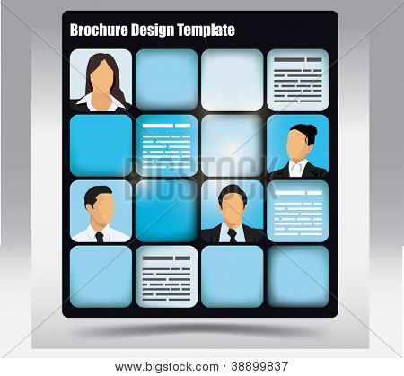 Business themed brochure template with avatars and place for text