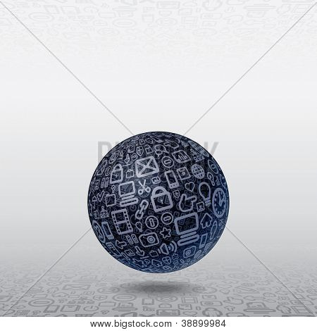Social Media Concept. 3D Vector Illustration. Spherical Planet made of Interface, Web, Icons.