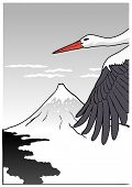 stock photo of shadoof  - Mountain with stork - JPG
