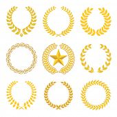 image of laurel  - golden laurel wreaths - JPG