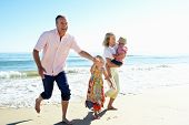 picture of shoreline  - Grandparents And Grandchildren Enjoying Beach Holiday - JPG