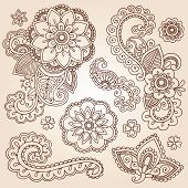 Henna Paisley bloemen Mehndi Tattoo Doodles Set - Abstract Floral Vector Illustratie ontwerpelementen