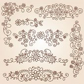 stock photo of mehndi  - Henna Paisley Vines and Flowers Mehndi Tattoo Doodles Abstract Floral Vector Illustration Design Elements - JPG