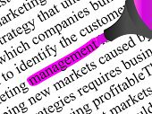 High resolution concept or conceptual abstract black text isolated on white paper background with a pink marker as a metaphor for management,business ,marketing,target,highlight,solution or branding poster