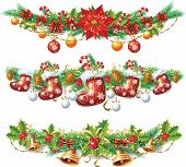 stock photo of poinsettias  - Christmas garland - JPG