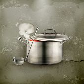Hot soup, old-style vector