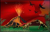 stock photo of pterodactyl  - illustration with dinosaurs near volcano - JPG