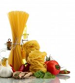 Pasta spaghetti, vegetables, spices and oil, isolated on white