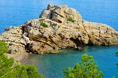 picture of nudist beach  - View of Illot del Torn and the remains of an old watchtower in Torn Beach - JPG