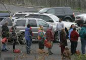 WATCHUNG, NJ - NOV 1: People wait on line for gas at a station on November 1, 2012 in Watchung, NJ.