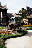 stock photo of rickshaw  - Rickshaw in the garden in the country of thailand - JPG