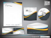 image of letterhead  - Professional corporate identity kit or business kit with wave pattern for your business includes CD Cover - JPG