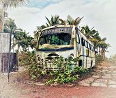 picture of wrecker  - Old bus - JPG
