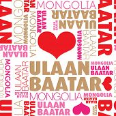 stock photo of ulaanbaatar  - I love Ulaanbaatar Mongolia seamless typography background pattern in vector - JPG
