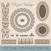 Vintage elements pack. Frames, Borders, Decor. High detail vector.