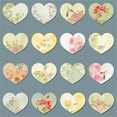 Vector collection of design retro hearts with flowers, butterflies, dragonflies and birds