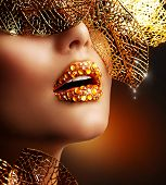 image of precious stones  - Luxury Golden Makeup - JPG