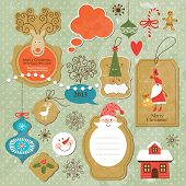 image of candy cane border  - Set of vintage Christmas and New Year elements - JPG