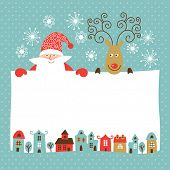 pic of antlered  - Greeting Christmas and New Year card - JPG
