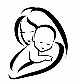 picture of nurture  - mother and baby vector silhouette - JPG