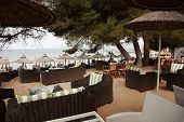 stock photo of nudist beach  - Swanky beach bar on Banana Beach Skiathos Greece - JPG
