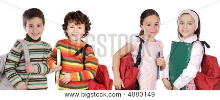 Four Children Students Returning To School