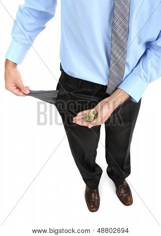 Business man showing his empty pocket, isolated on white