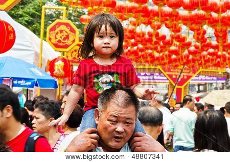 Unidentified Child, Age About 5 Years Old, Celebrates Chinese New Year