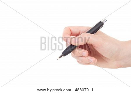 Caucasian Hand With Black Colored Pen
