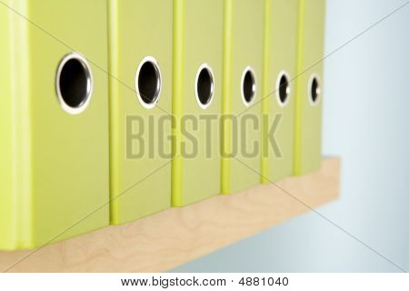 Row Of Green Ring Binders