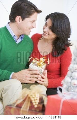 Husband Surprising Wife With Christmas Present