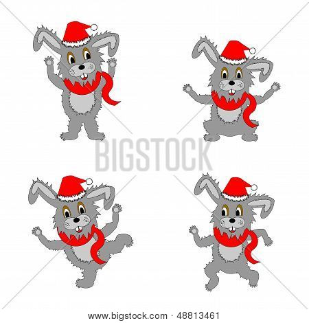 Funny Christmas Hares On A White Background