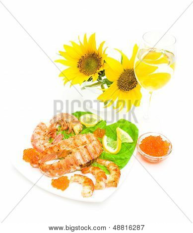 Fried Fish, Shrimp And Caviar, A Glass Of Wine And Sunflowers On A White Background