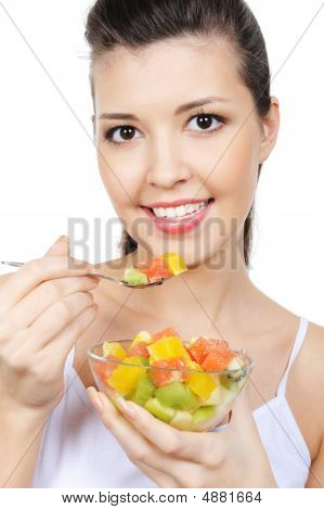 Woman With Fruit Dessert