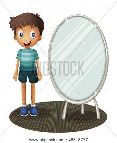 Abbildung eines jungen steht neben den Spiegel auf weißem Hintergrund