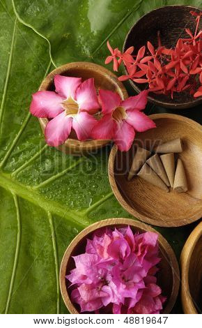 spa supplies with red flower . frangipani, image of tropical spa.