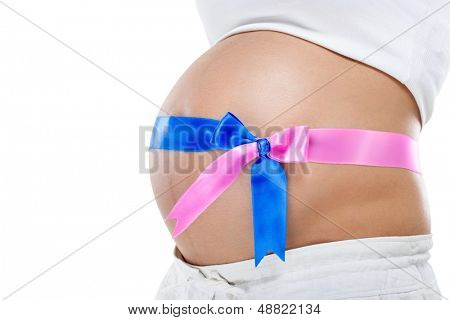 twins pregnancy, pregnant belly with blue and pink ribbon